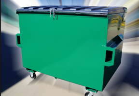 green front lift bin with blue cover