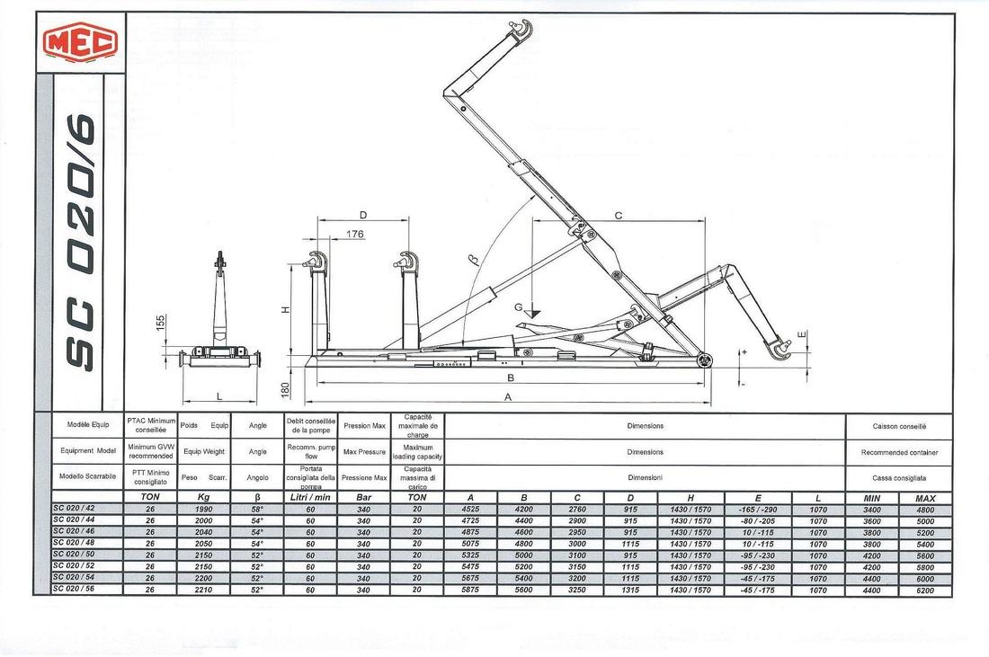 Technical drawing of sliding hook lift SC 0 2 0/6