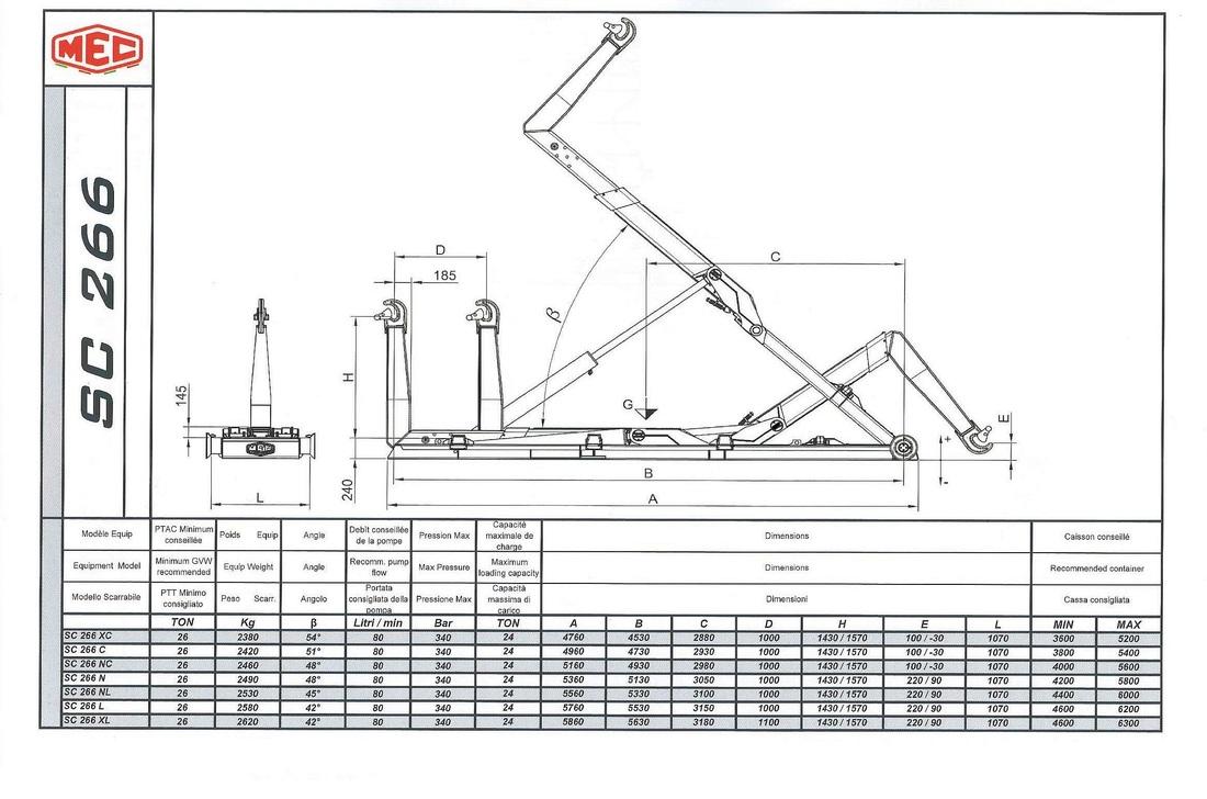 Technical drawing of sliding hook lift SC 2 6 6