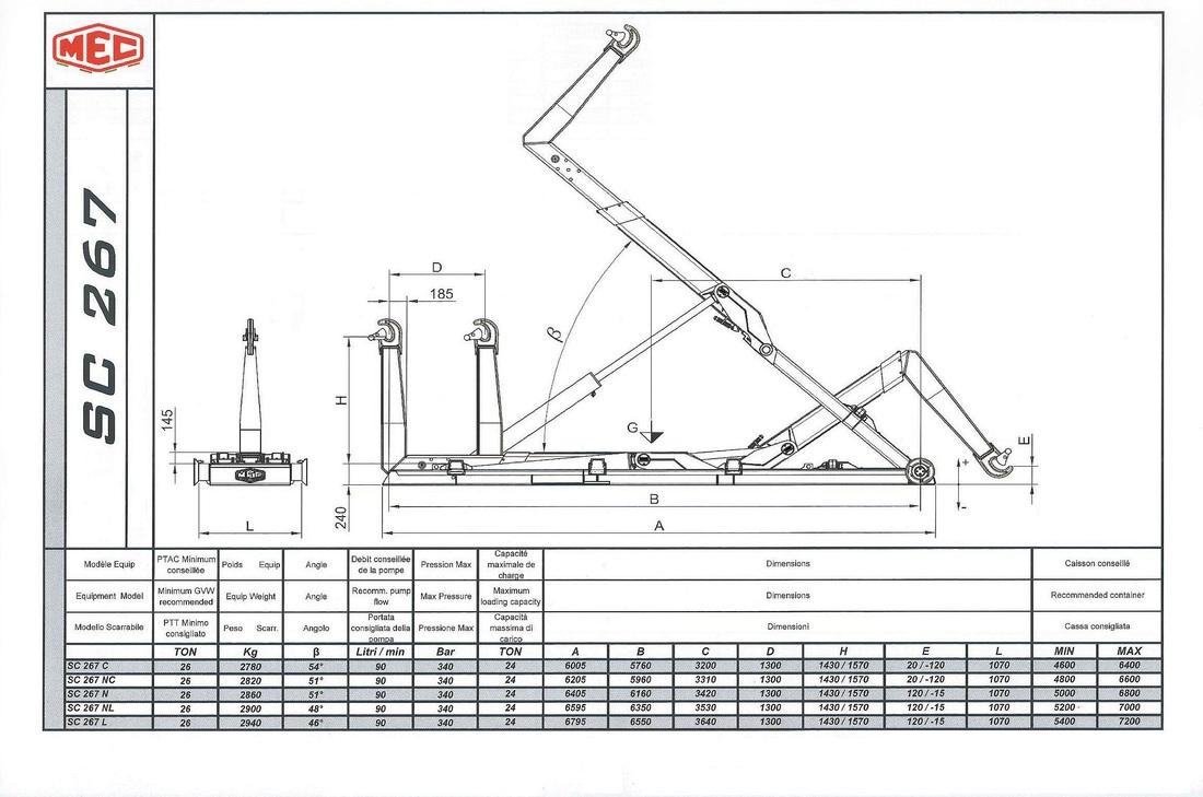 Technical drawing of sliding hook lift SC 2 6 7
