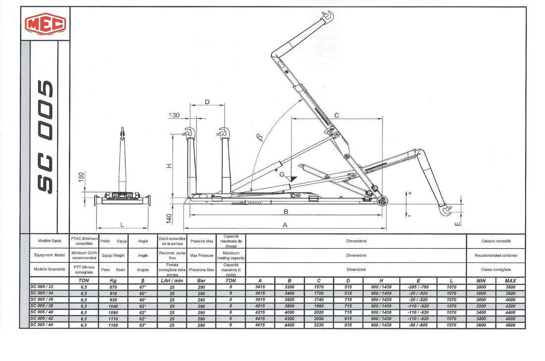 Technical drawing of sliding hook lift SC 0 0 5