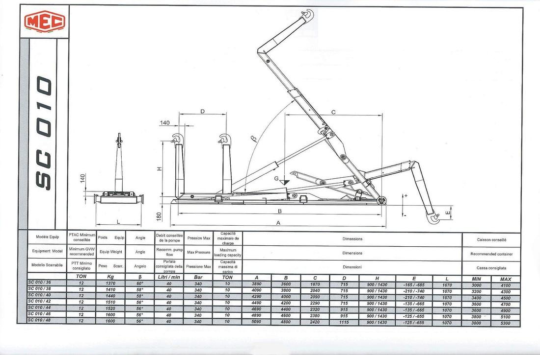 Technical drawing of sliding hook lift SC 0 1 0