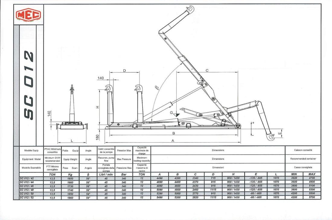 Technical drawing of sliding hook lift SC 0 1 2