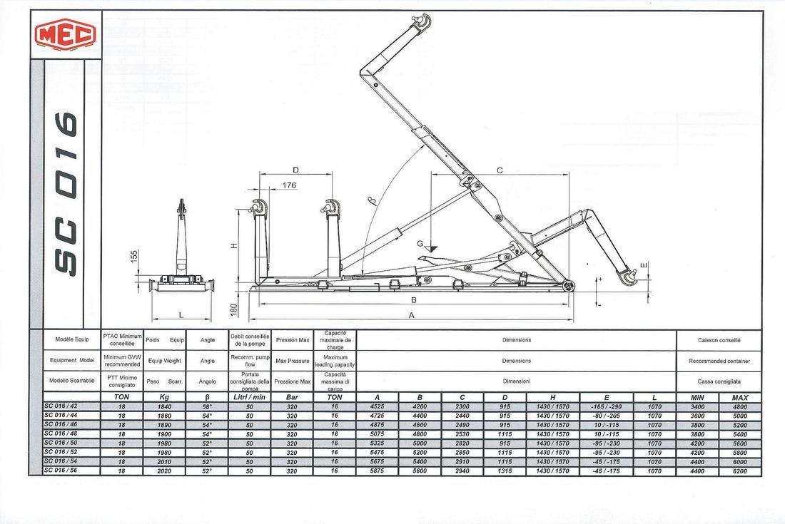 Technical drawing of sliding hook lift SC 0 1 6