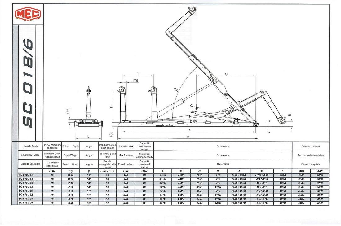 Technical drawing of sliding hook lift SC 018/6