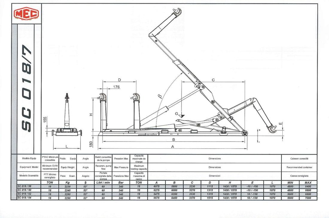 Technical drawing of sliding hook lift SC 018/7