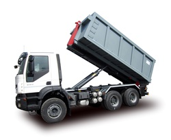 truck equipped with telescopic skip loader